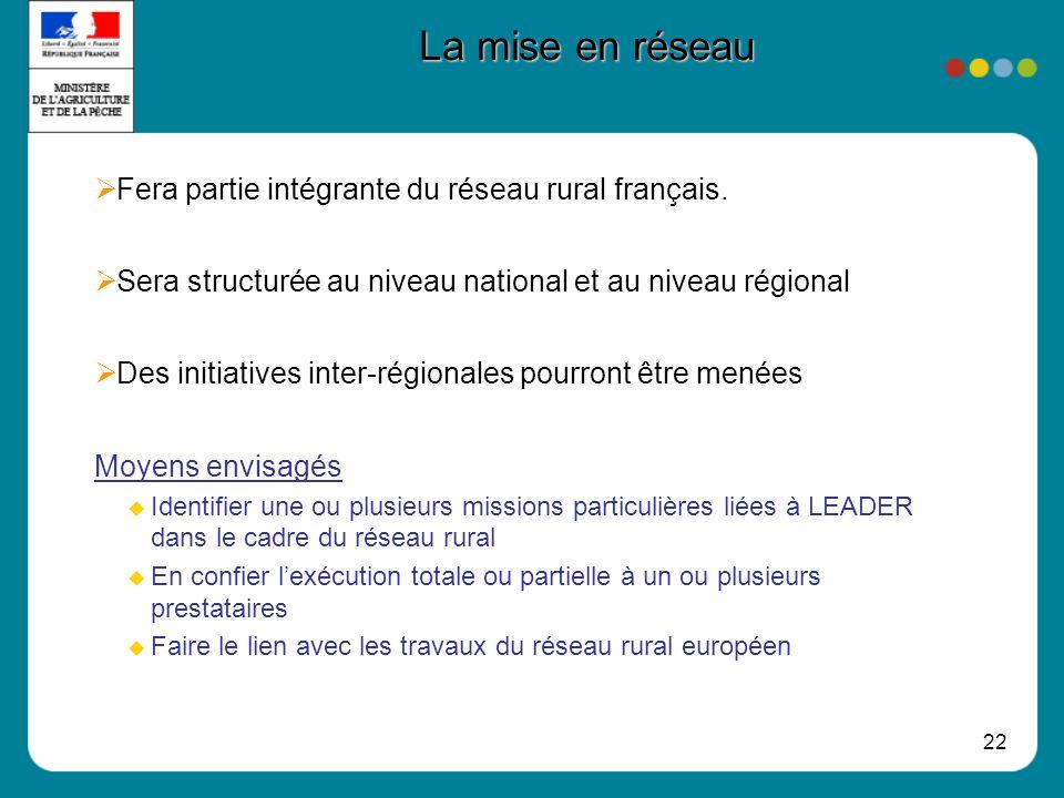 22 La mise en réseau Fera partie intégrante du réseau rural français. Sera structurée au niveau national et au niveau régional Des initiatives inter-r