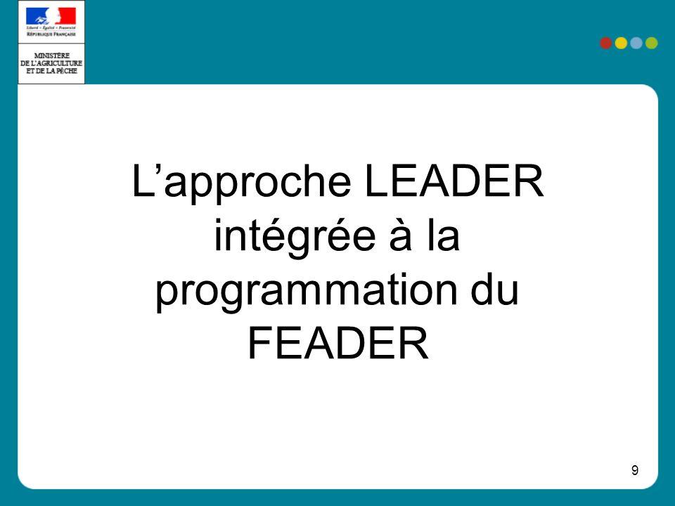 9 Lapproche LEADER intégrée à la programmation du FEADER