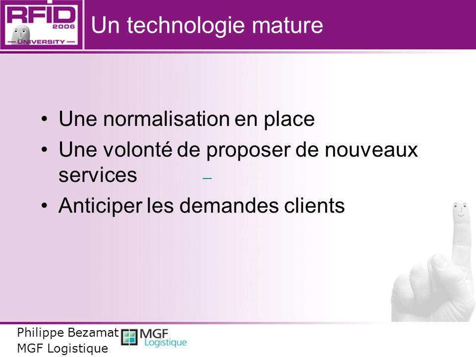 Un technologie mature Une normalisation en place Une volonté de proposer de nouveaux services Anticiper les demandes clients Philippe Bezamat MGF Logi