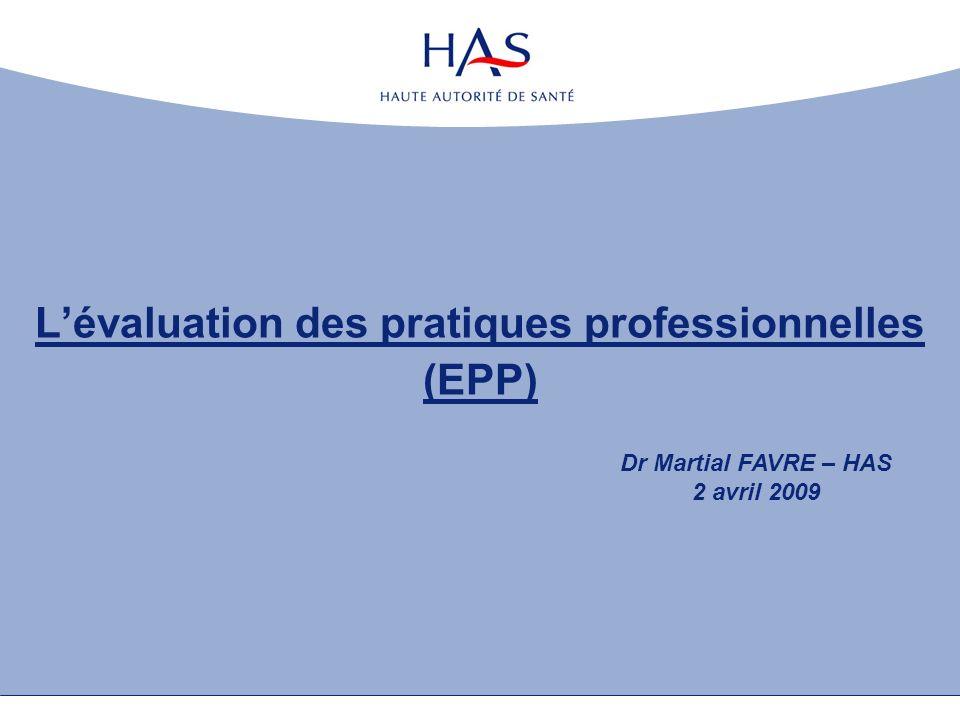 Lévaluation des pratiques professionnelles (EPP) Dr Martial FAVRE – HAS 2 avril 2009