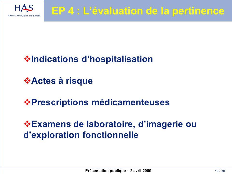 Présentation publique – 2 avril 2009 10 / 30 EP 4 : Lévaluation de la pertinence Indications dhospitalisation Actes à risque Prescriptions médicamente