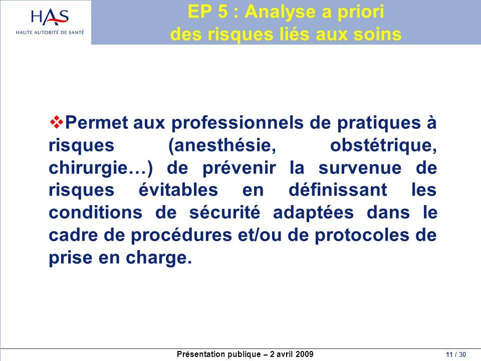 Présentation publique – 2 avril 2009 11 / 30 EP 5 : Analyse a priori des risques liés aux soins Permet aux professionnels de pratiques à risques (anes
