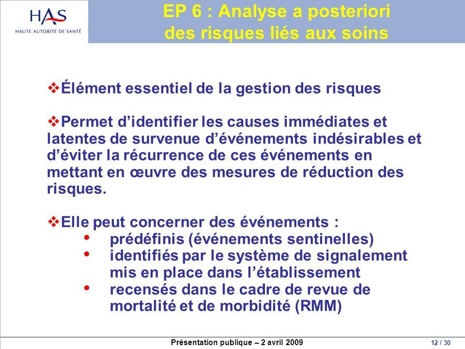 Présentation publique – 2 avril 2009 12 / 30 EP 6 : Analyse a posteriori des risques liés aux soins Élément essentiel de la gestion des risques Permet