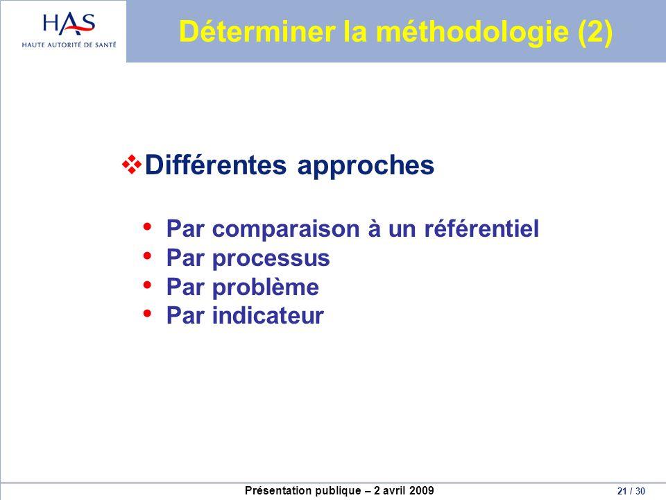 Présentation publique – 2 avril 2009 21 / 30 Déterminer la méthodologie (2) Différentes approches Par comparaison à un référentiel Par processus Par p