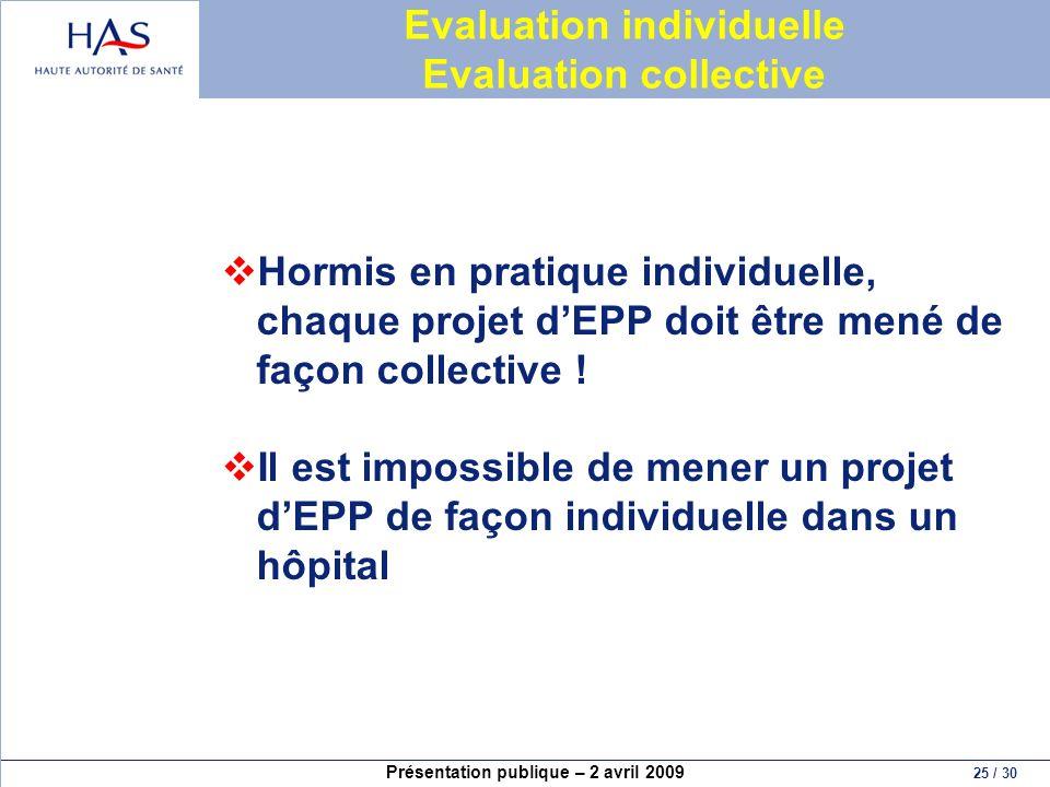 Présentation publique – 2 avril 2009 25 / 30 Evaluation individuelle Evaluation collective Hormis en pratique individuelle, chaque projet dEPP doit êt