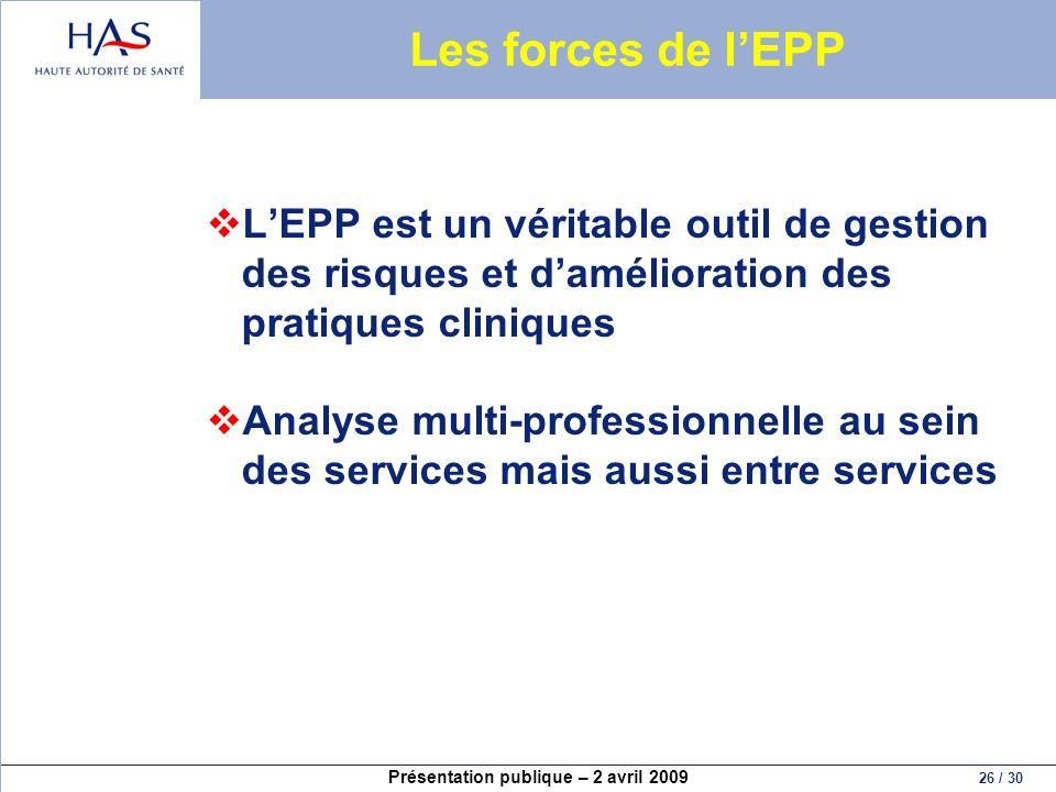 Présentation publique – 2 avril 2009 26 / 30 Les forces de lEPP LEPP est un véritable outil de gestion des risques et damélioration des pratiques clin