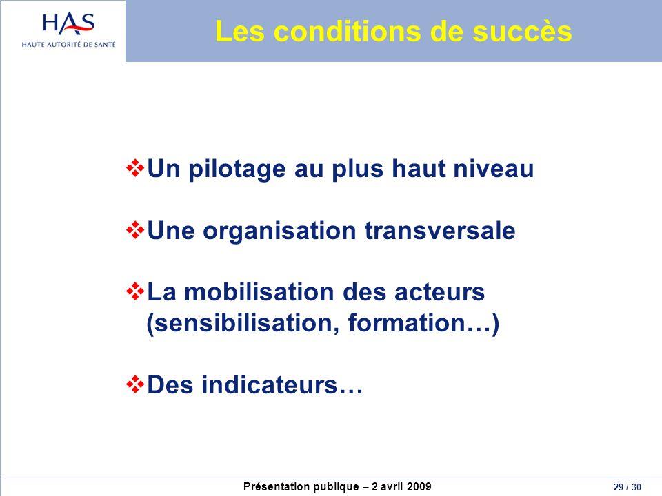 Présentation publique – 2 avril 2009 29 / 30 Les conditions de succès Un pilotage au plus haut niveau Une organisation transversale La mobilisation de