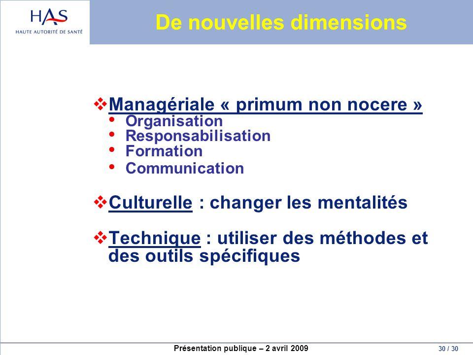 Présentation publique – 2 avril 2009 30 / 30 De nouvelles dimensions Managériale « primum non nocere » Organisation Responsabilisation Formation Commu