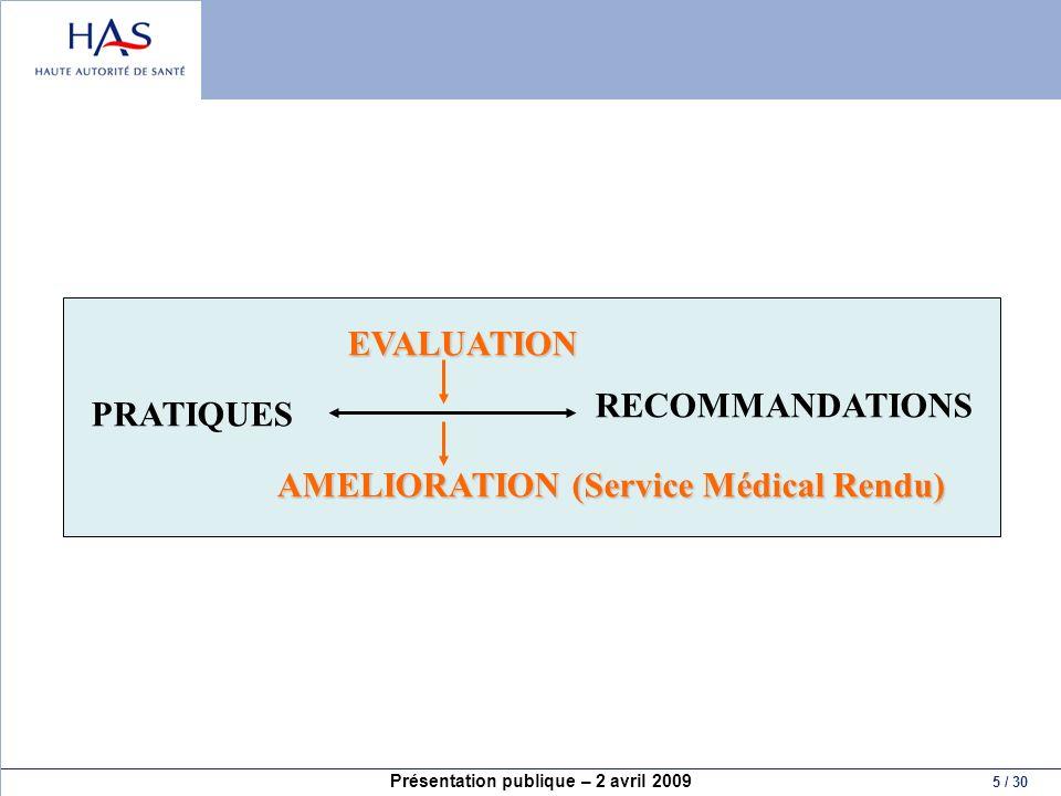 Présentation publique – 2 avril 2009 5 / 30 PRATIQUES RECOMMANDATIONS EVALUATION AMELIORATION (Service Médical Rendu)