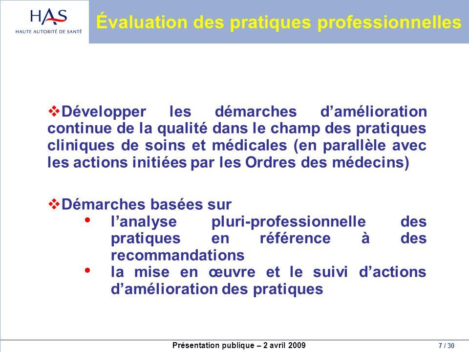 Présentation publique – 2 avril 2009 8 / 30 Évaluation des pratiques professionnelles (2) Un leadership (comité médical +++) Une organisation Gestion Communication Des outils 7 références