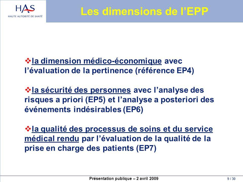 Présentation publique – 2 avril 2009 9 / 30 Les dimensions de lEPP la dimension médico-économique avec lévaluation de la pertinence (référence EP4) la