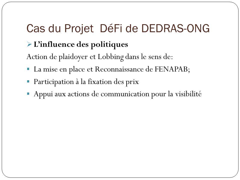 Cas du Projet DéFi de DEDRAS-ONG Linfluence des politiques Action de plaidoyer et Lobbing dans le sens de: La mise en place et Reconnaissance de FENAPAB; Participation à la fixation des prix Appui aux actions de communication pour la visibilité