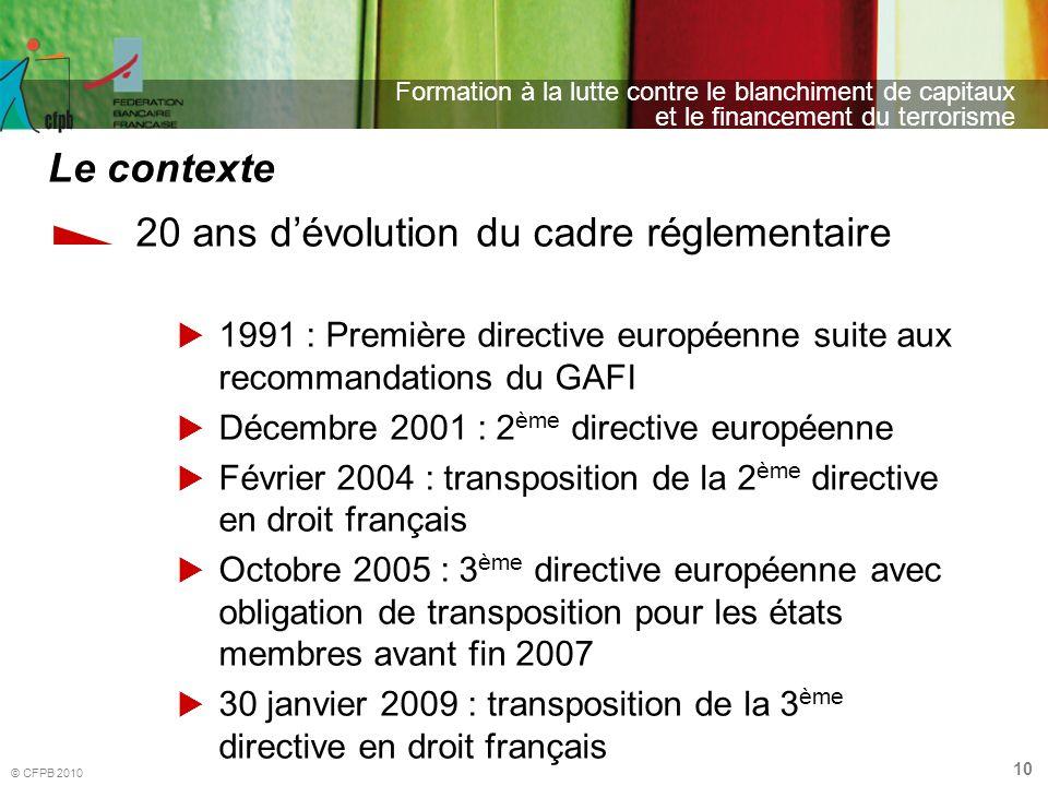 10 Formation à la lutte contre le blanchiment de capitaux et le financement du terrorisme © CFPB 2010 20 ans dévolution du cadre réglementaire 1991 :