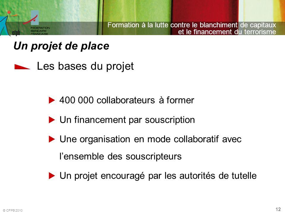 12 Formation à la lutte contre le blanchiment de capitaux et le financement du terrorisme © CFPB 2010 Les bases du projet 400 000 collaborateurs à for
