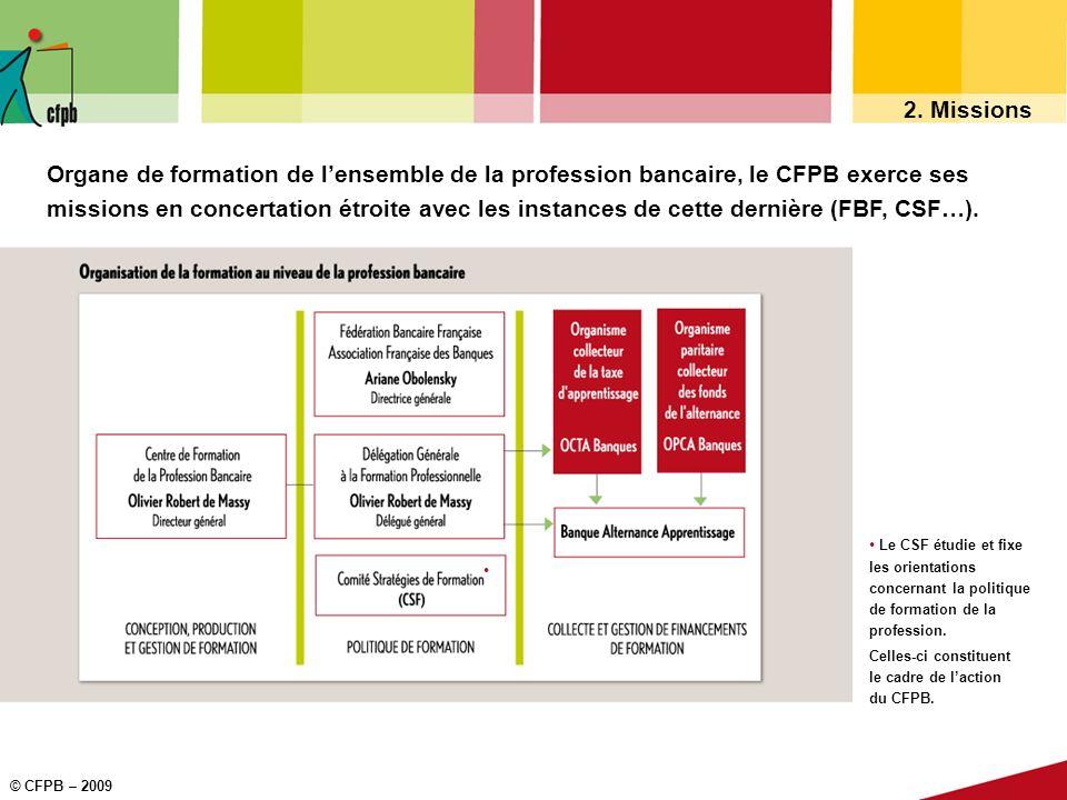 © CFPB – 2009 2. Missions Le CSF étudie et fixe les orientations concernant la politique de formation de la profession. Celles-ci constituent le cadre