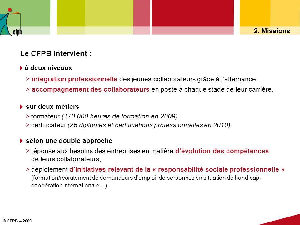 © CFPB – 2009 2. Missions Le CFPB intervient : à deux niveaux > intégration professionnelle des jeunes collaborateurs grâce à lalternance, > accompagn