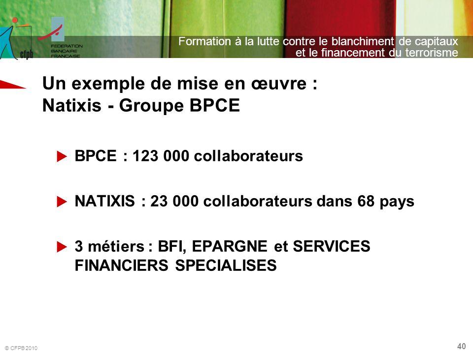40 Formation à la lutte contre le blanchiment de capitaux et le financement du terrorisme © CFPB 2010 Un exemple de mise en œuvre : Natixis - Groupe B