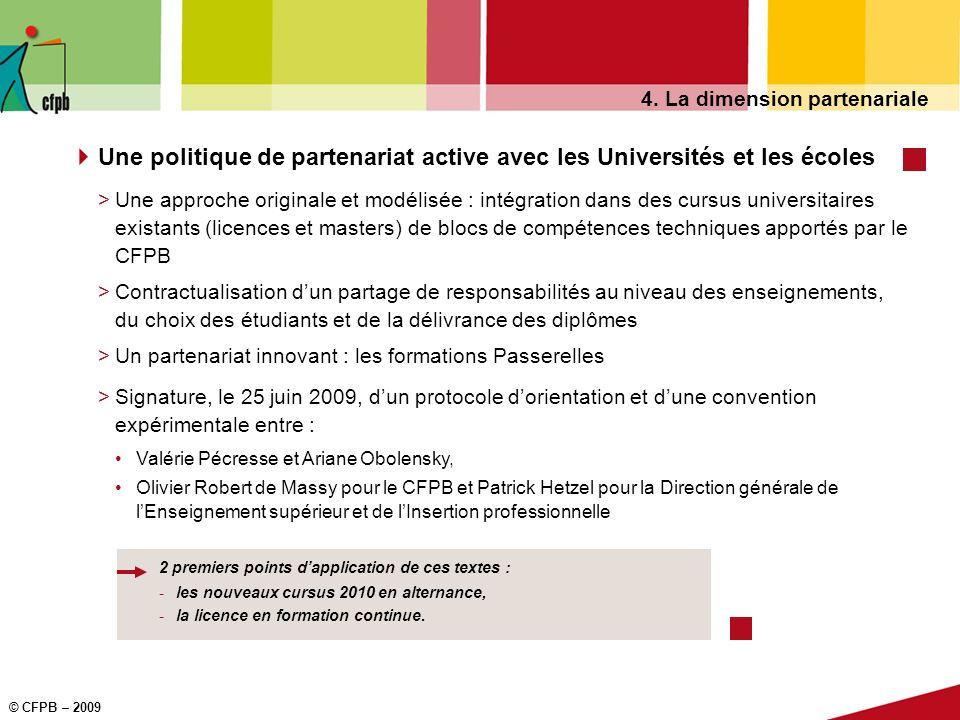© CFPB – 2009 4. La dimension partenariale Une politique de partenariat active avec les Universités et les écoles >Une approche originale et modélisée