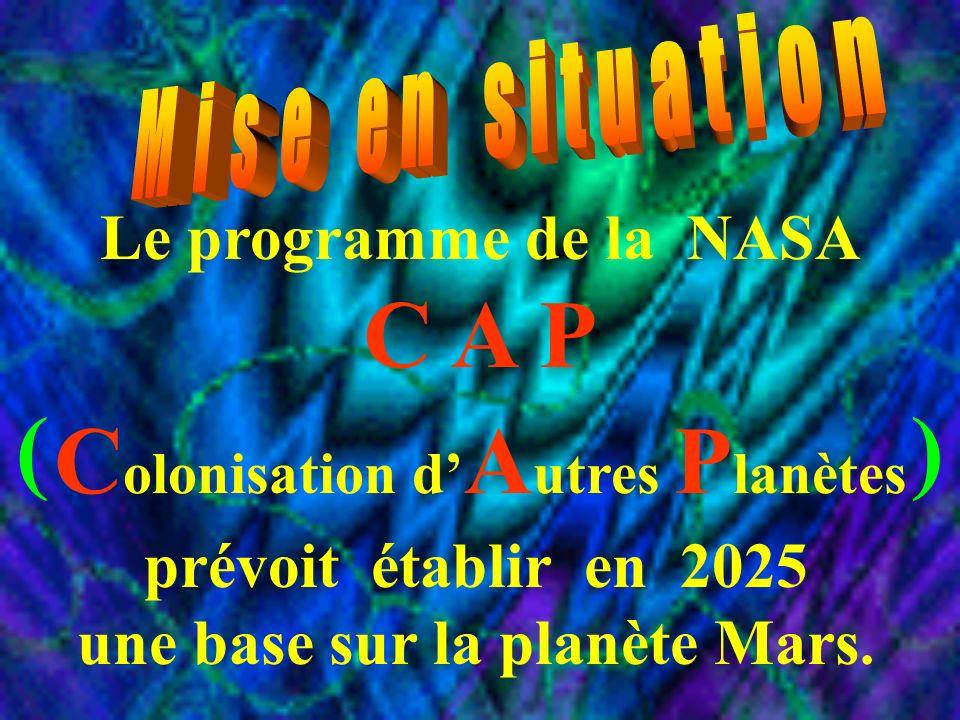 Le programme de la NASA C A P ( ) C olonisation d A utres P lanètes prévoit établir en 2025 une base sur la planète Mars.
