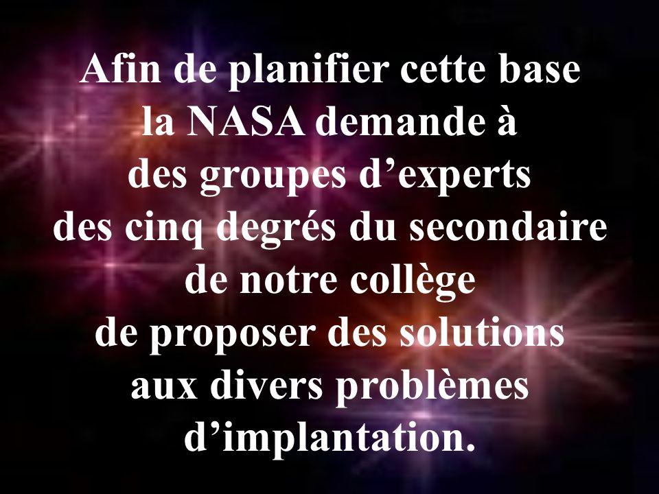 Afin de planifier cette base la NASA demande à des groupes dexperts des cinq degrés du secondaire de notre collège de proposer des solutions aux divers problèmes dimplantation.