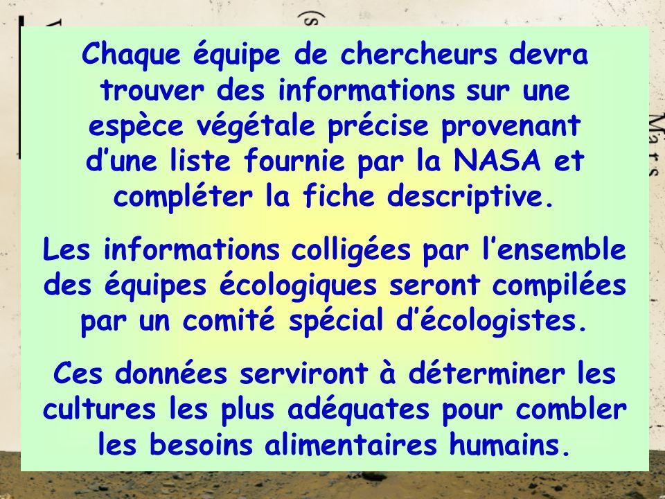 Chaque équipe de chercheurs devra trouver des informations sur une espèce végétale précise provenant dune liste fournie par la NASA et compléter la fiche descriptive.