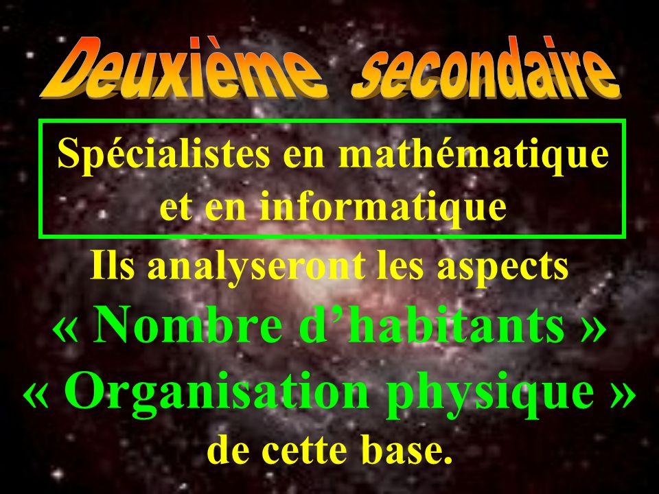Spécialistes en mathématique et en informatique Ils analyseront les aspects « Nombre dhabitants » « Organisation physique » de cette base.