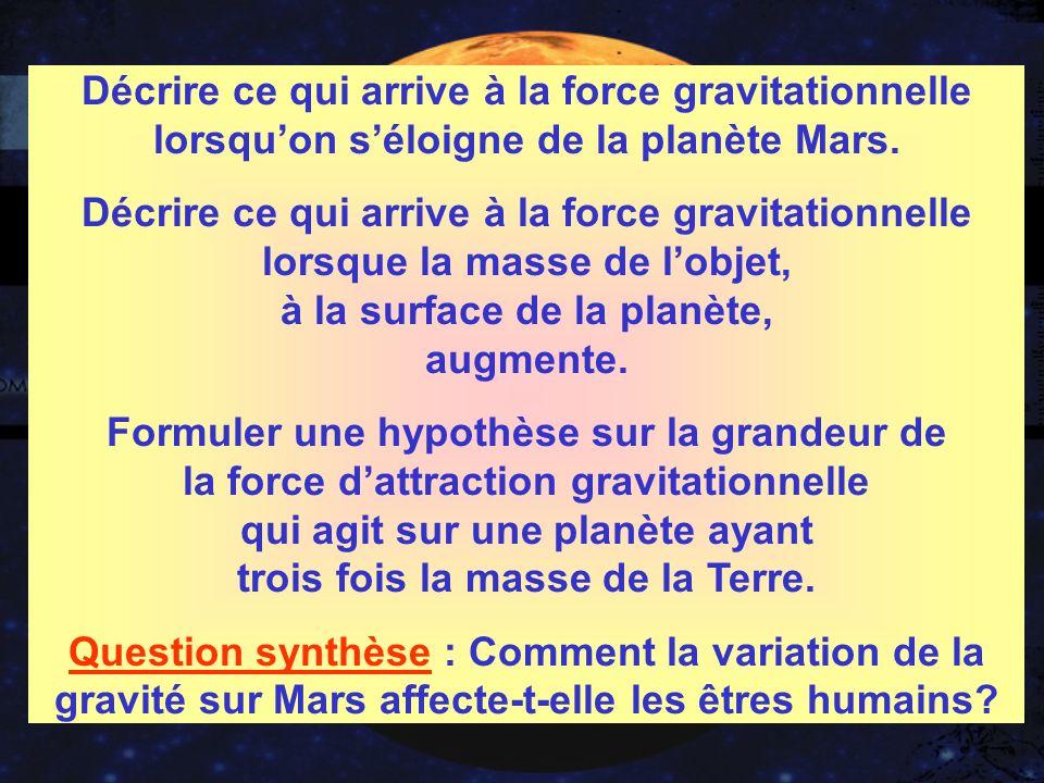 INFORMATIONS GÉNÉRALES.DOC DOCUMENT DES ÉLÈVES.DOC Décrire ce qui arrive à la force gravitationnelle lorsquon séloigne de la planète Mars.