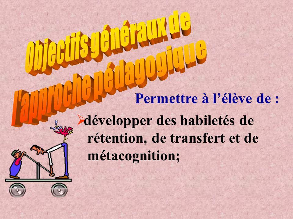 Permettre à lélève de : développer des habiletés de rétention, de transfert et de métacognition;