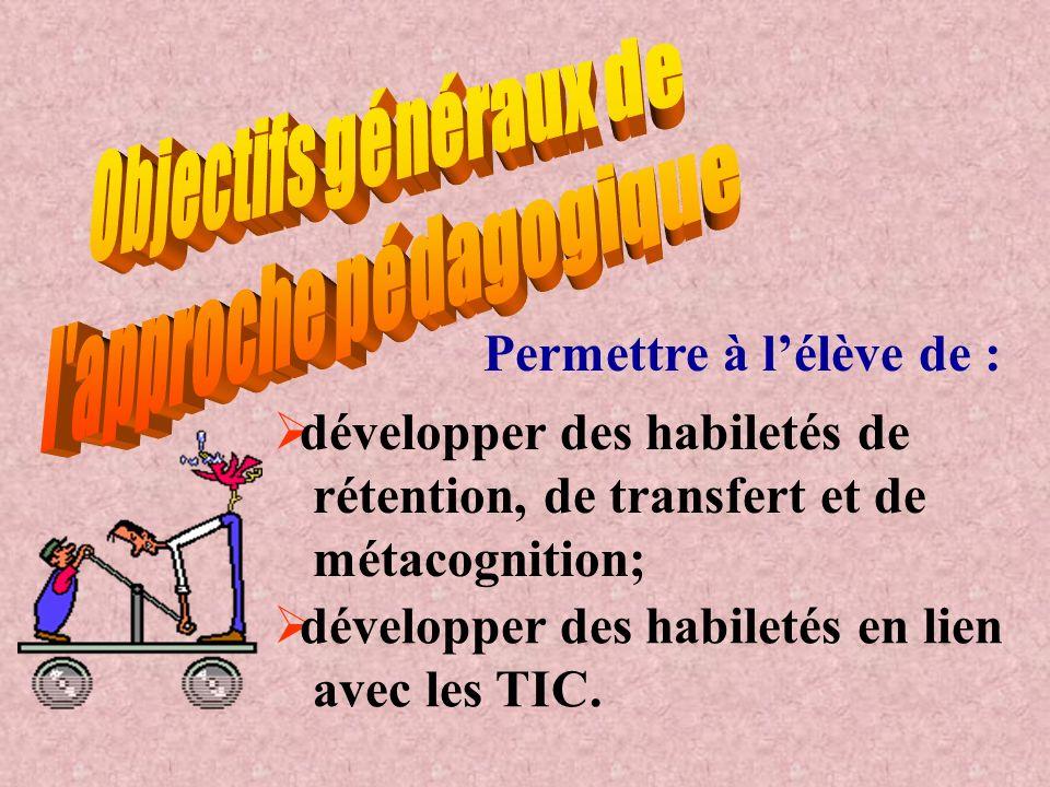 Permettre à lélève de : développer des habiletés de rétention, de transfert et de métacognition; développer des habiletés en lien avec les TIC.
