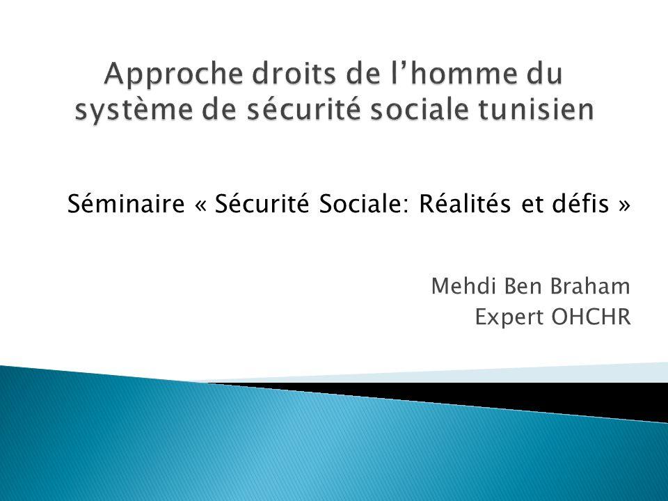 Mehdi Ben Braham Expert OHCHR Séminaire « Sécurité Sociale: Réalités et défis »