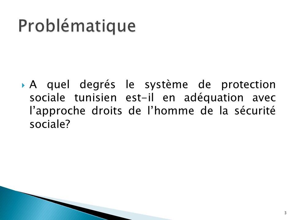 A quel degrés le système de protection sociale tunisien est-il en adéquation avec lapproche droits de lhomme de la sécurité sociale? 3