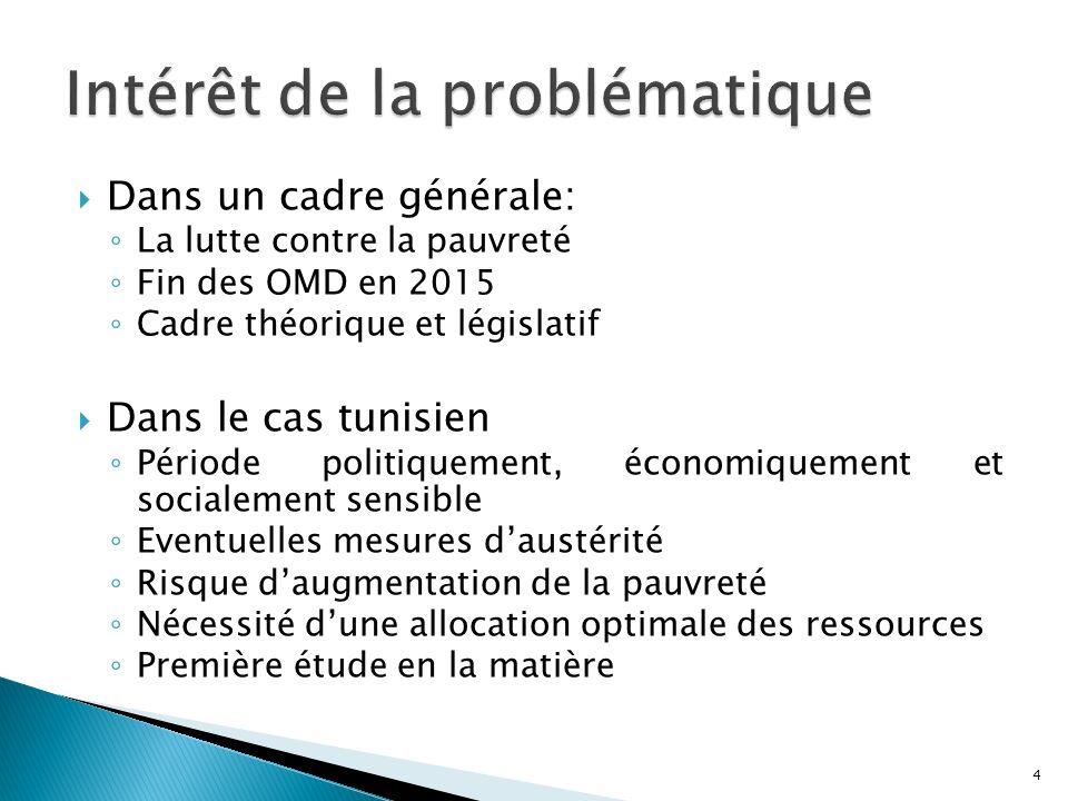 Dans un cadre générale: La lutte contre la pauvreté Fin des OMD en 2015 Cadre théorique et législatif Dans le cas tunisien Période politiquement, écon