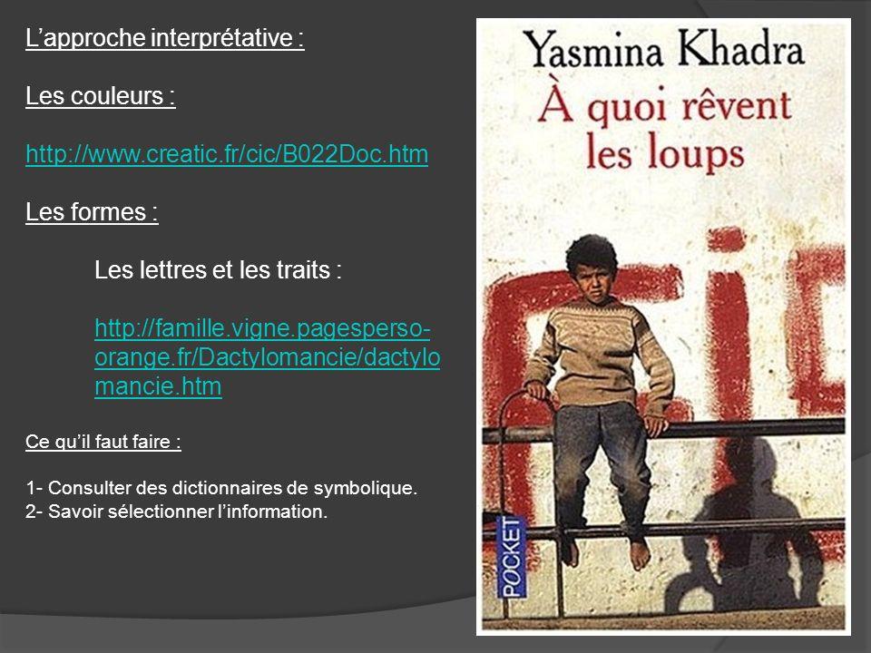 Lapproche interprétative : Les couleurs : http://www.creatic.fr/cic/B022Doc.htm Les formes : Les lettres et les traits : http://famille.vigne.pagesper