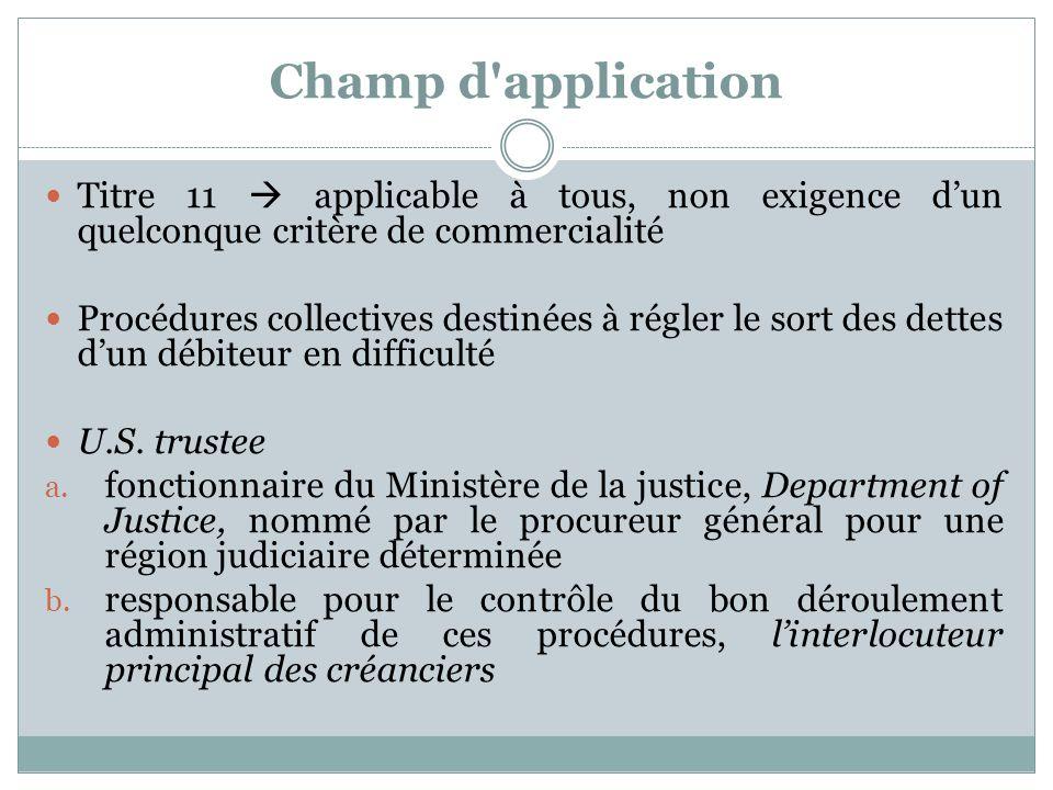 Champ d'application Titre 11 applicable à tous, non exigence dun quelconque critère de commercialité Procédures collectives destinées à régler le sort