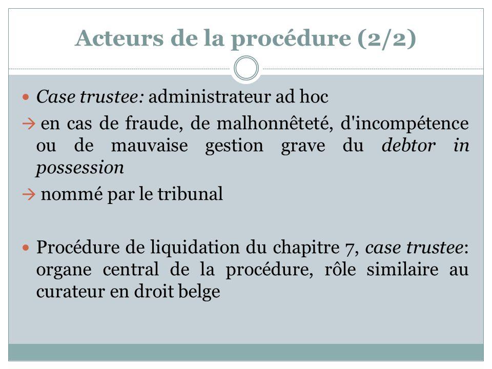 Acteurs de la procédure (2/2) Case trustee: administrateur ad hoc en cas de fraude, de malhonnêteté, d incompétence ou de mauvaise gestion grave du debtor in possession nommé par le tribunal Procédure de liquidation du chapitre 7, case trustee: organe central de la procédure, rôle similaire au curateur en droit belge