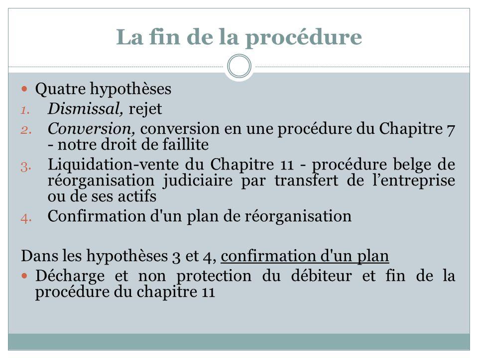 La fin de la procédure Quatre hypothèses 1. Dismissal, rejet 2.