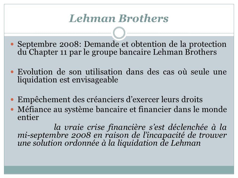 Lehman Brothers Septembre 2008: Demande et obtention de la protection du Chapter 11 par le groupe bancaire Lehman Brothers Evolution de son utilisation dans des cas où seule une liquidation est envisageable Empêchement des créanciers dexercer leurs droits Méfiance au système bancaire et financier dans le monde entier la vraie crise financière sest déclenchée à la mi-septembre 2008 en raison de lincapacité de trouver une solution ordonnée à la liquidation de Lehman