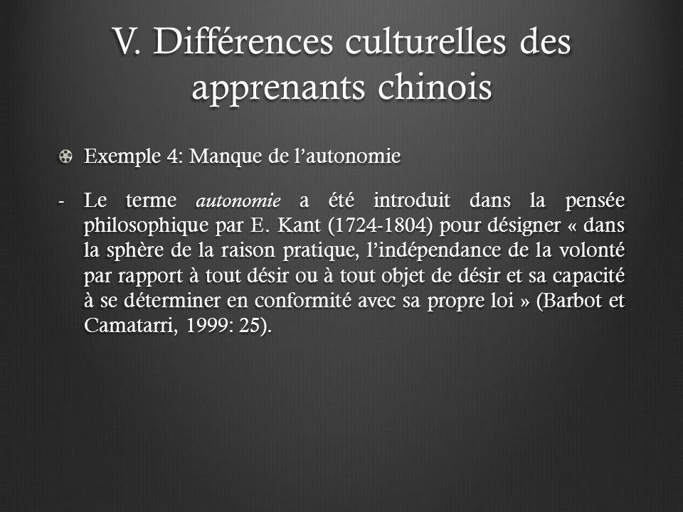 V. Différences culturelles des apprenants chinois Exemple 4: Manque de lautonomie -Le terme autonomie a été introduit dans la pensée philosophique par