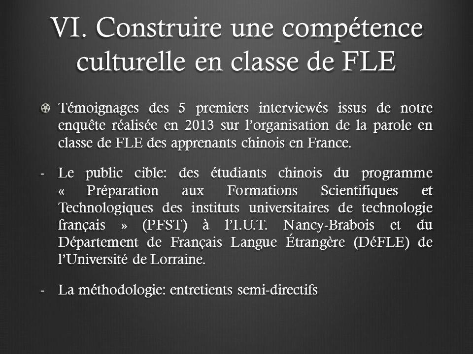 VI. Construire une compétence culturelle en classe de FLE Témoignages des 5 premiers interviewés issus de notre enquête réalisée en 2013 sur lorganisa