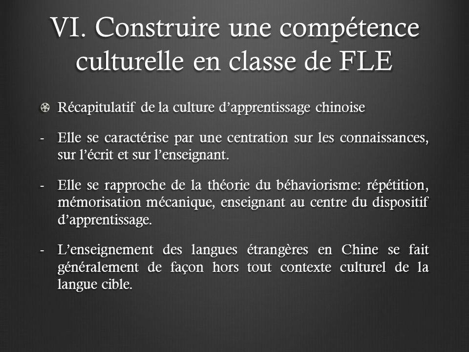 VI. Construire une compétence culturelle en classe de FLE Récapitulatif de la culture dapprentissage chinoise -Elle se caractérise par une centration