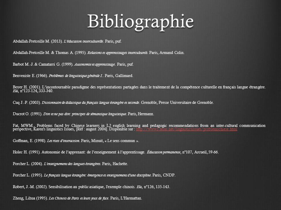 Bibliographie Abdallah-Pretceille M.(2013). Léducation interculturelle.