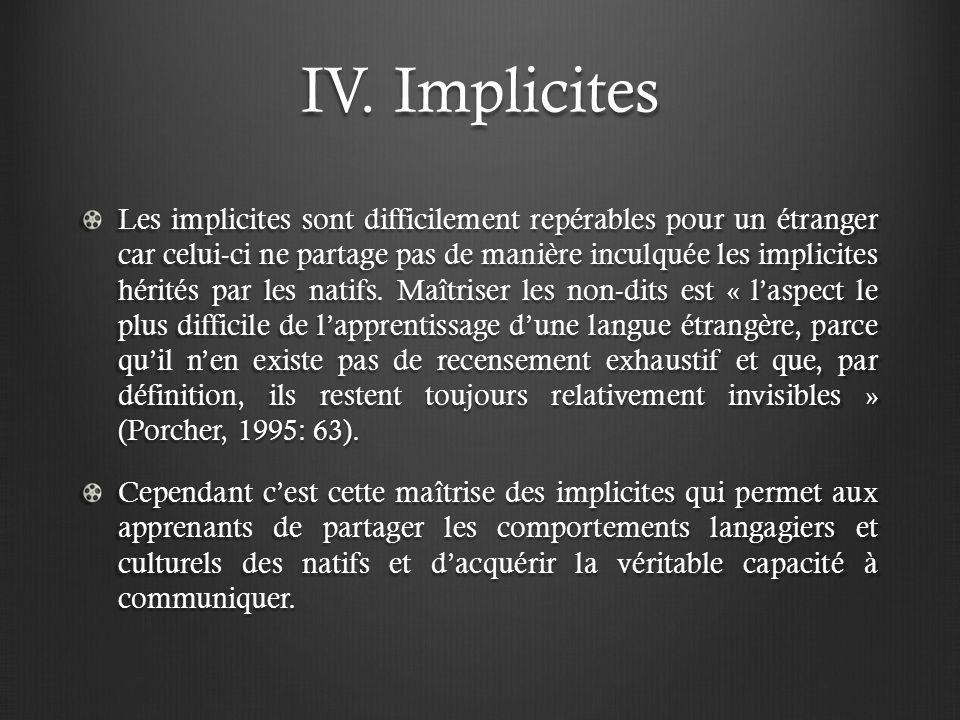 IV. Implicites Les implicites sont difficilement repérables pour un étranger car celui-ci ne partage pas de manière inculquée les implicites hérités p