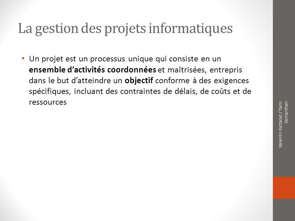 La gestion des projets informatiques Un projet est un processus unique qui consiste en un ensemble dactivités coordonnées et maîtrisées, entrepris dan