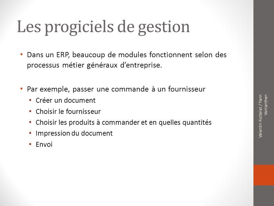 Les progiciels de gestion Dans un ERP, beaucoup de modules fonctionnent selon des processus métier généraux dentreprise. Par exemple, passer une comma