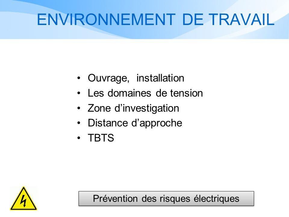 ENVIRONNEMENT DE TRAVAIL Ouvrage, installation Les domaines de tension Zone dinvestigation Distance dapproche TBTS Prévention des risques électriques