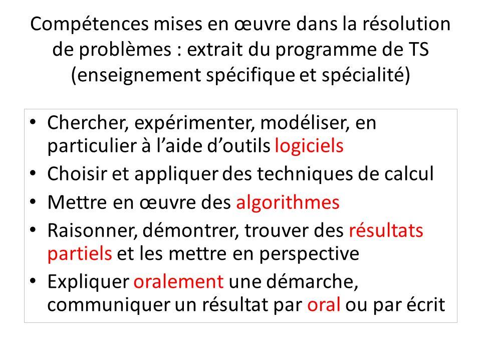 Compétences mises en œuvre dans la résolution de problèmes : extrait du programme de TS (enseignement spécifique et spécialité) Chercher, expérimenter