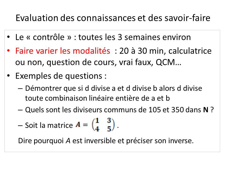 Evaluation des connaissances et des savoir-faire Le « contrôle » : toutes les 3 semaines environ Faire varier les modalités : 20 à 30 min, calculatric