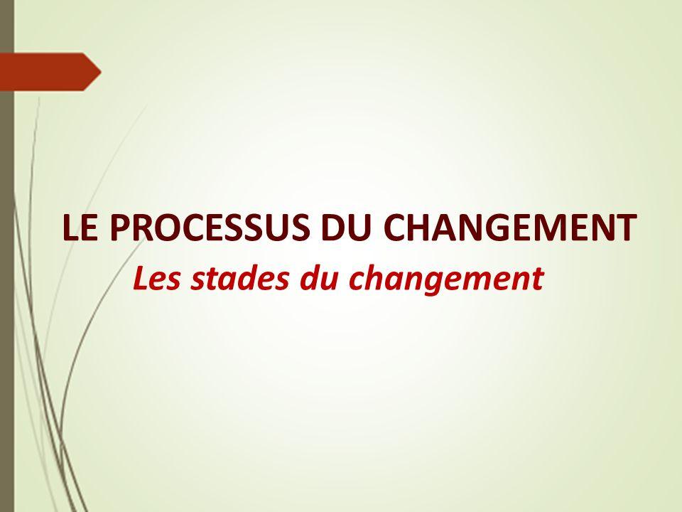 LE PROCESSUS DU CHANGEMENT Les stades du changement