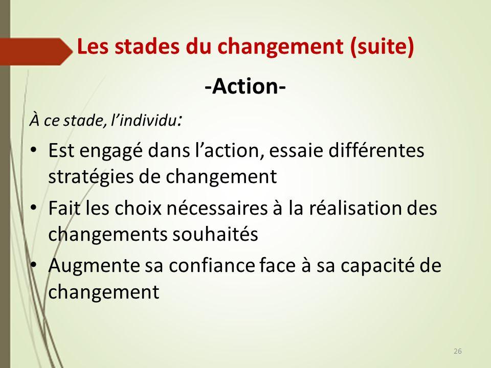 Les stades du changement (suite) -Action- À ce stade, lindividu : Est engagé dans laction, essaie différentes stratégies de changement Fait les choix