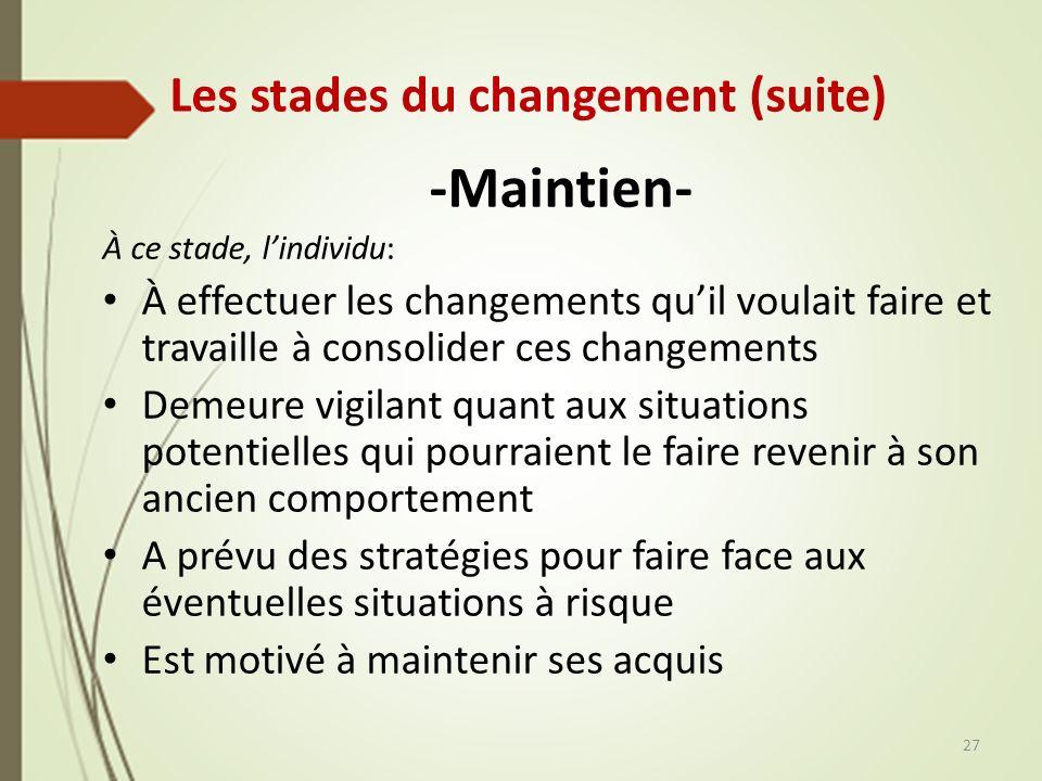 Les stades du changement (suite) -Maintien- À ce stade, lindividu: À effectuer les changements quil voulait faire et travaille à consolider ces change